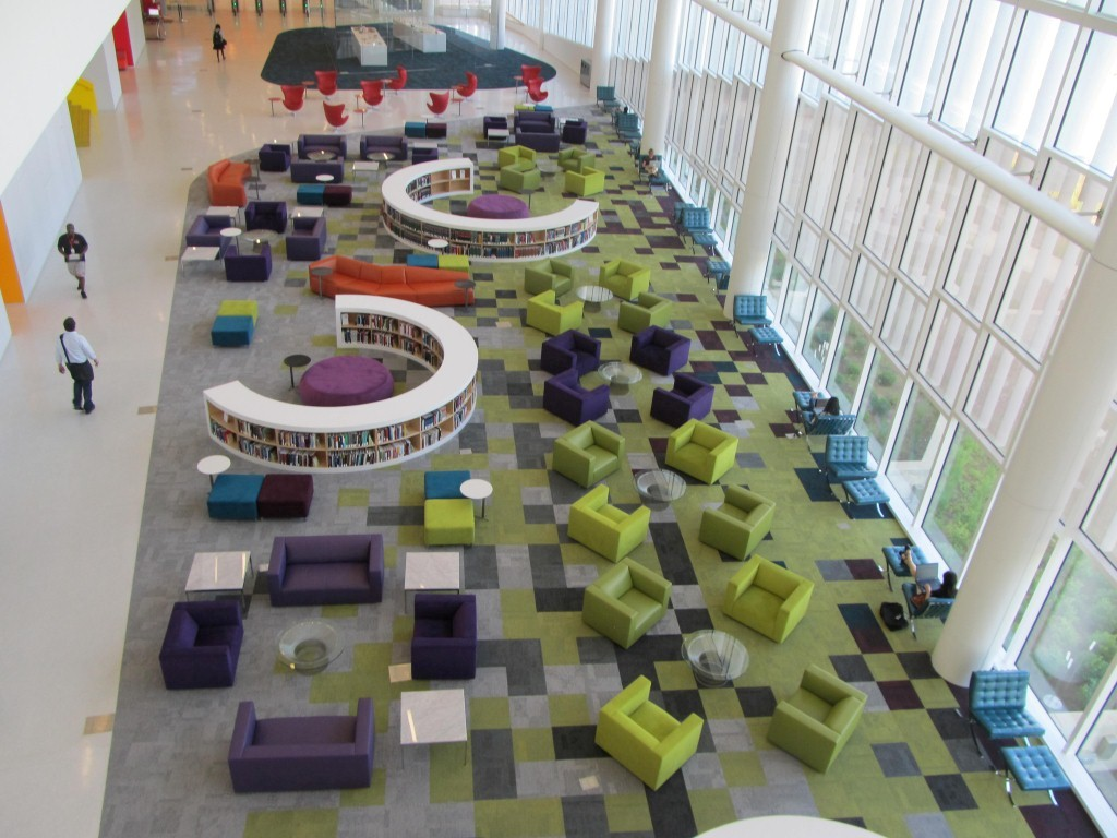 Aerial view of the rain garden reading lounge - James Hunt Library, love how bright colored and sphisticated it looks ;) Who wouldnt like to sit here and study