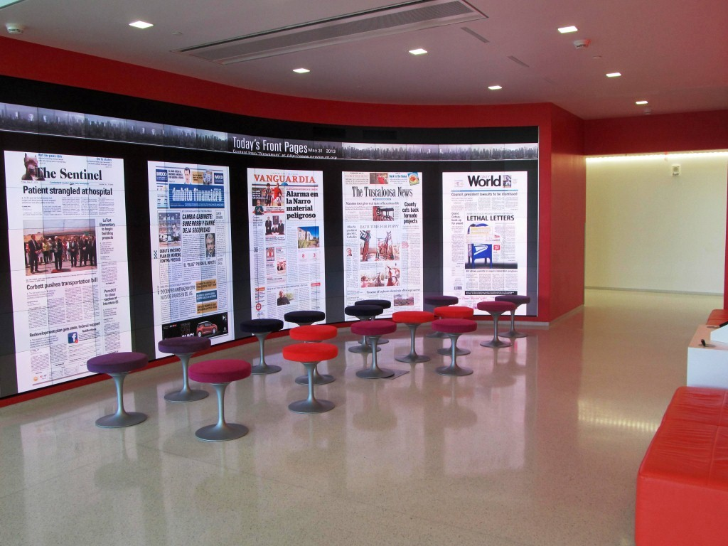iPeral immersion theater - one can read newspapers here, forget the paper version and read headlines in this theater...