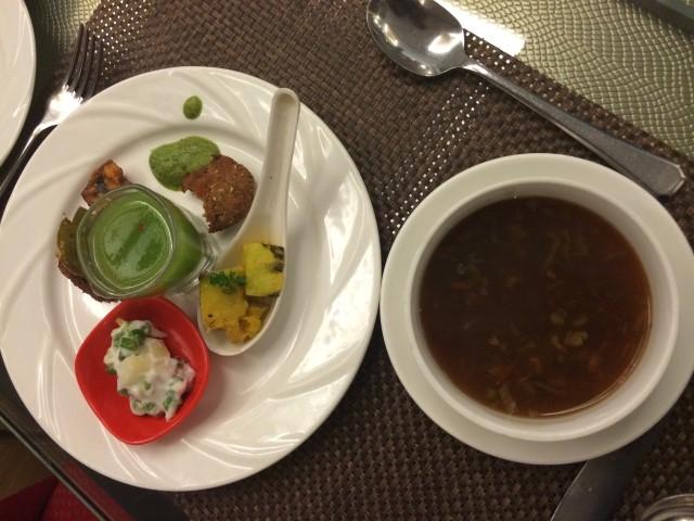 Sampling food at a five star dinning place